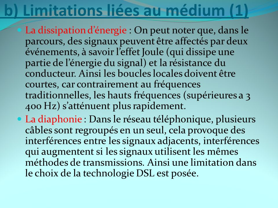 b) Limitations liées au médium (1)