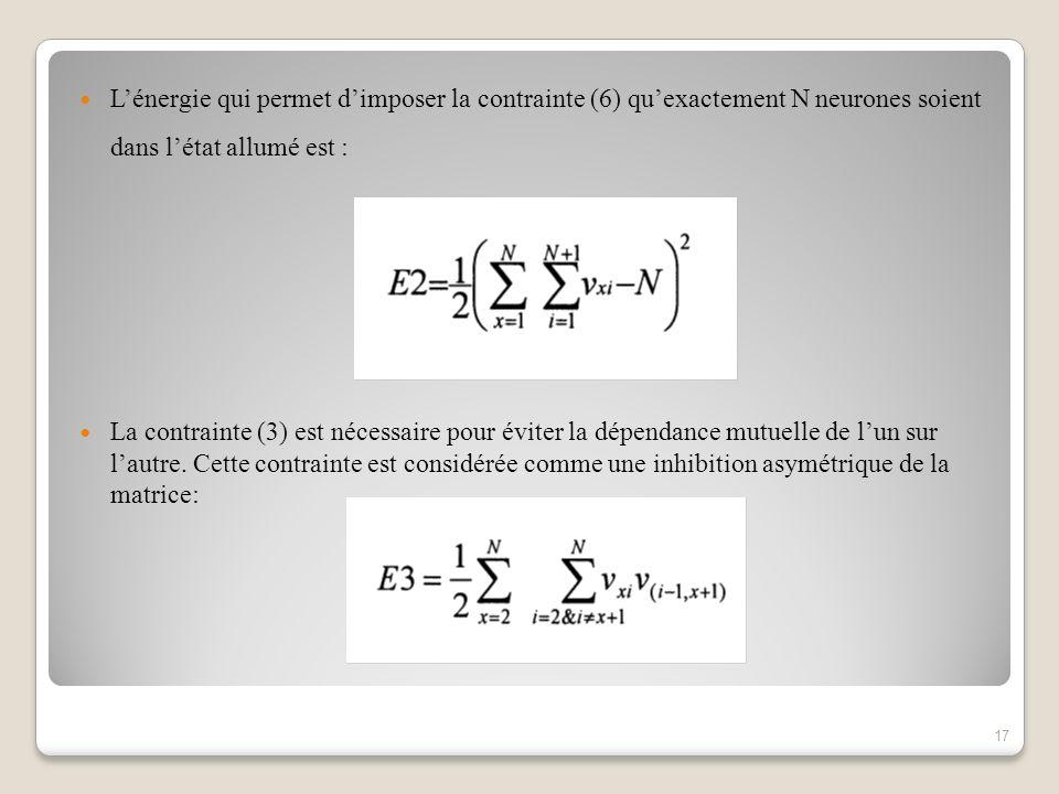 L'énergie qui permet d'imposer la contrainte (6) qu'exactement N neurones soient dans l'état allumé est :