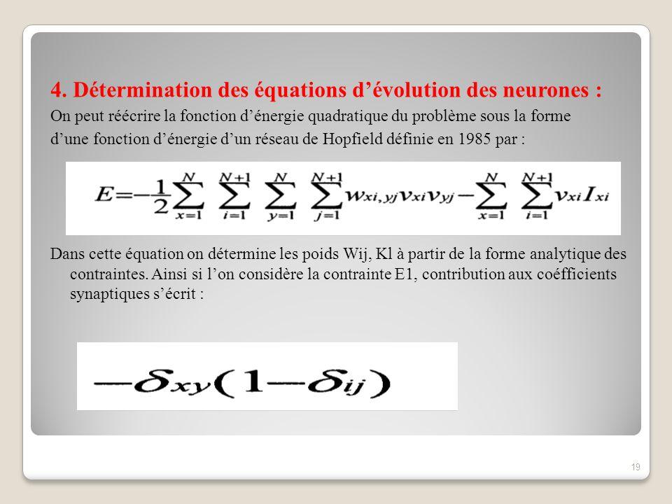 4. Détermination des équations d'évolution des neurones :