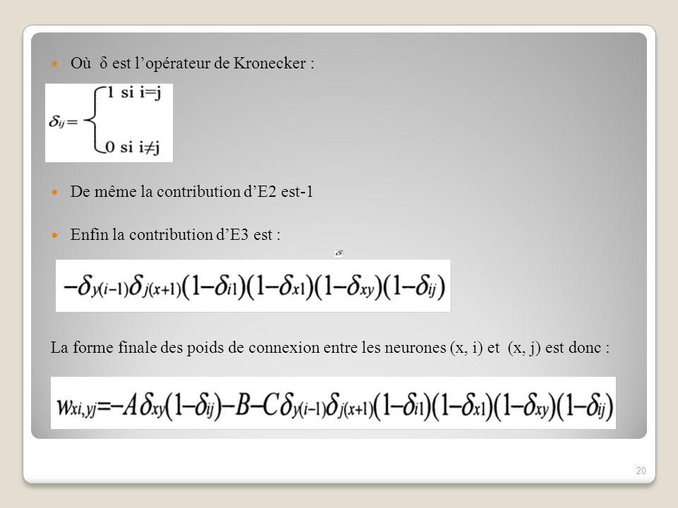 Où δ est l'opérateur de Kronecker :