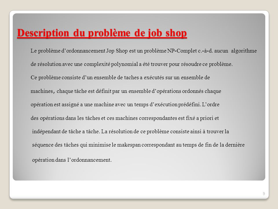 Description du problème de job shop