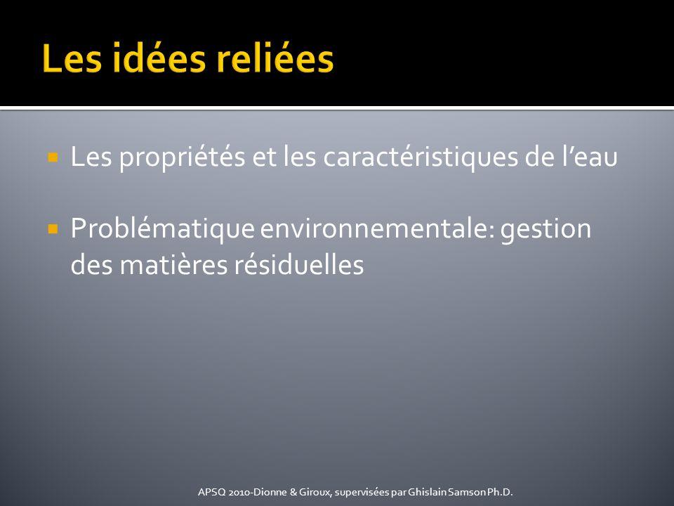 Les idées reliées Les propriétés et les caractéristiques de l'eau