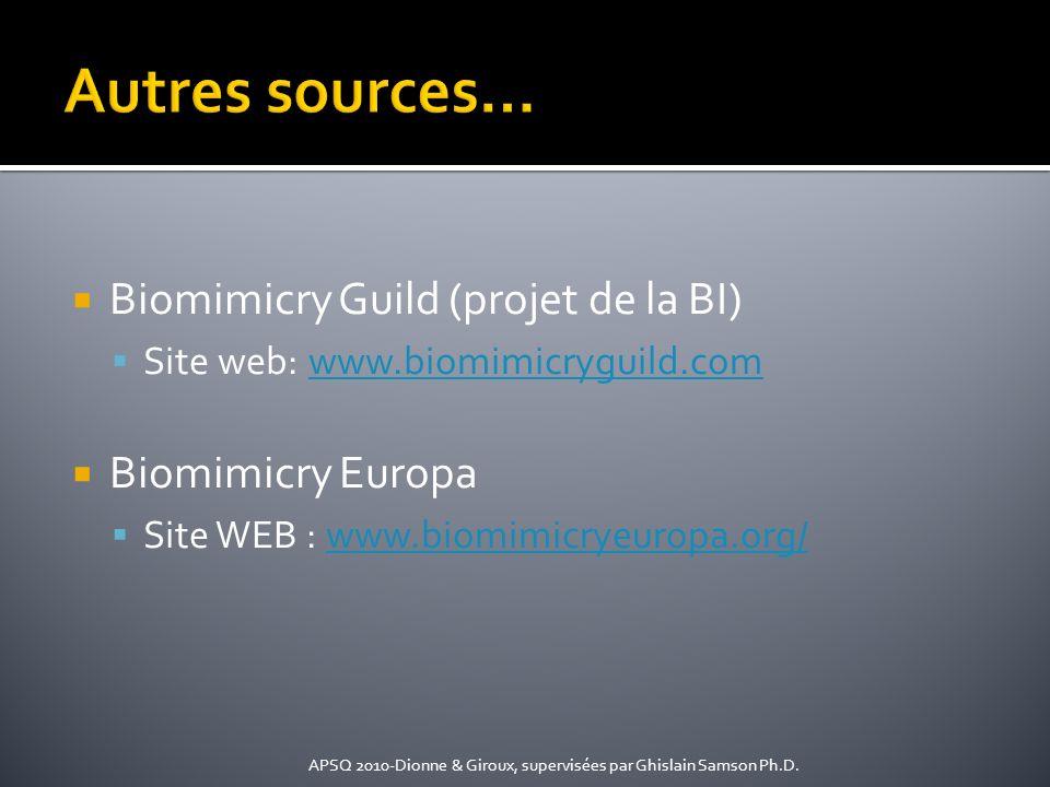 Autres sources… Biomimicry Guild (projet de la BI) Biomimicry Europa
