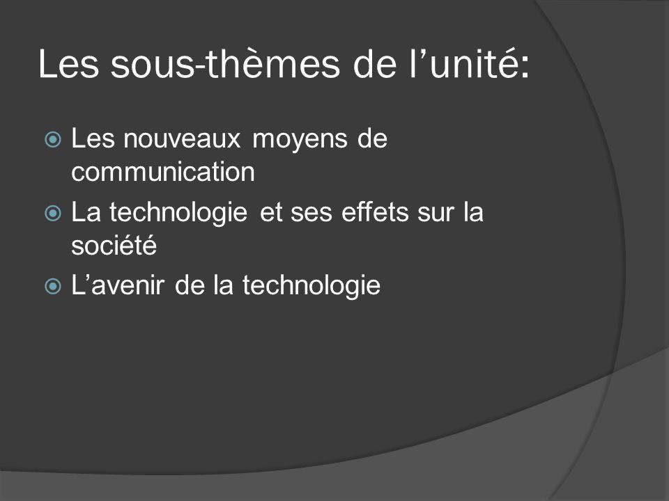 Les sous-thèmes de l'unité: