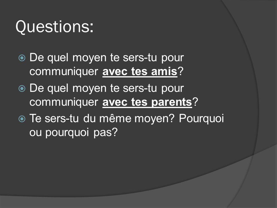 Questions: De quel moyen te sers-tu pour communiquer avec tes amis