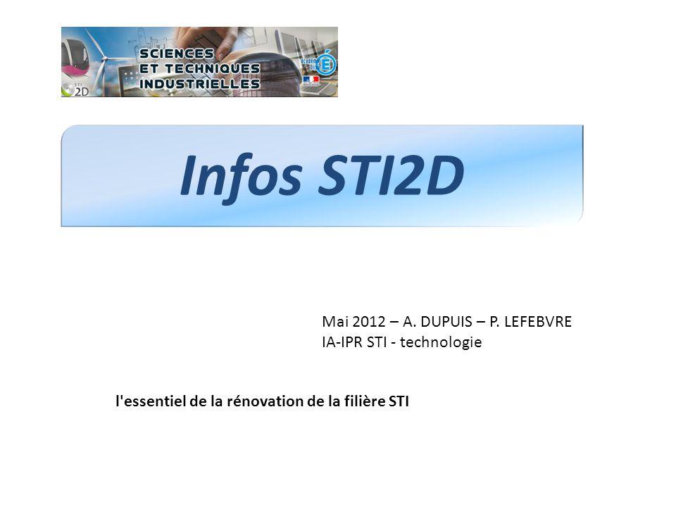 Infos STI2D Mai 2012 – A. DUPUIS – P. LEFEBVRE IA-IPR STI - technologie.