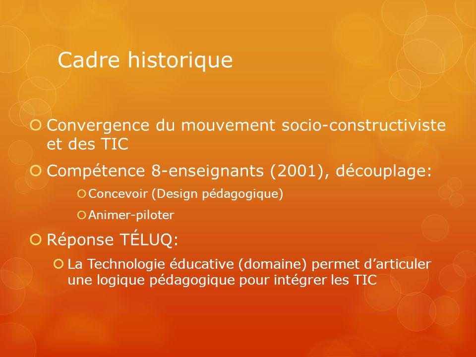 Cadre historique Convergence du mouvement socio-constructiviste et des TIC. Compétence 8-enseignants (2001), découplage: