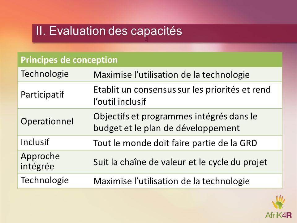 II. Evaluation des capacités