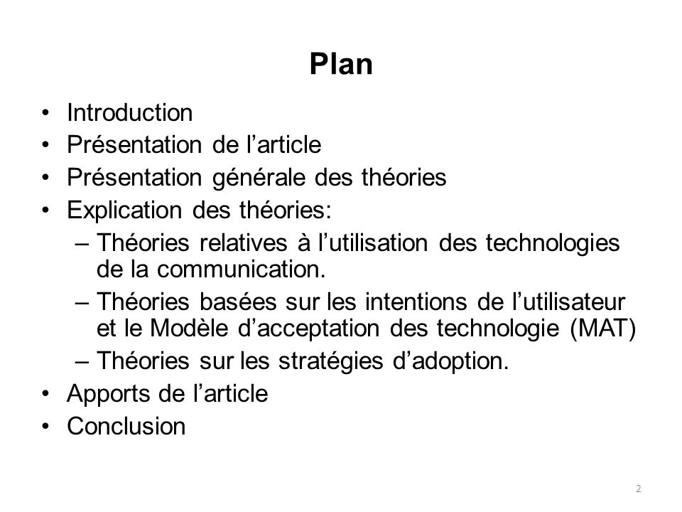 Plan Introduction Présentation de l'article