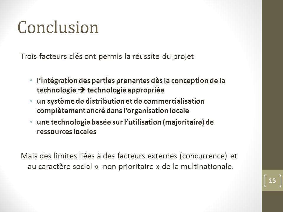 Conclusion Trois facteurs clés ont permis la réussite du projet