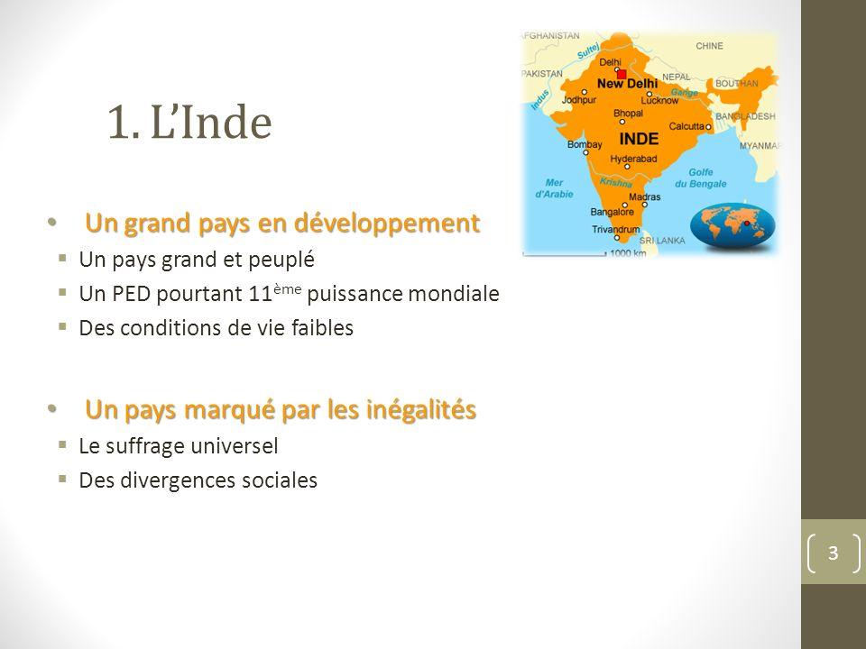 1. L'Inde Un grand pays en développement