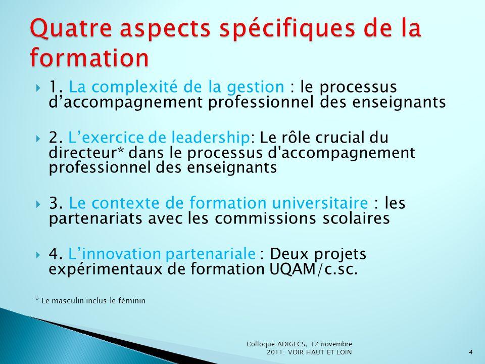 Quatre aspects spécifiques de la formation