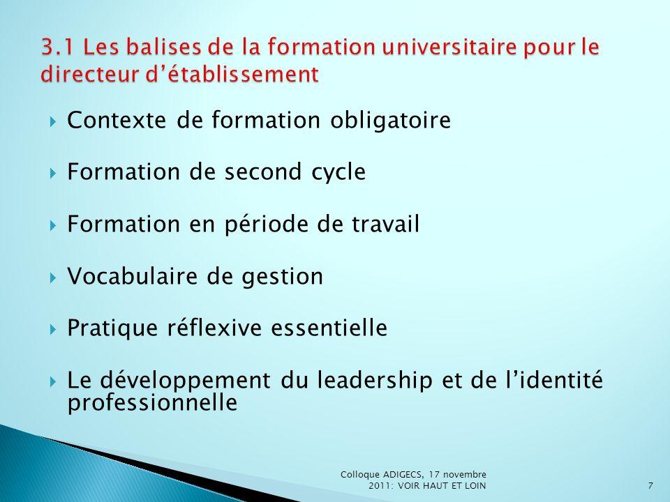 Contexte de formation obligatoire Formation de second cycle