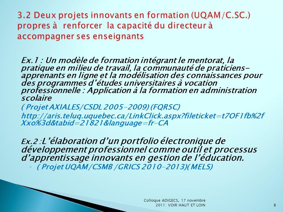 3. 2 Deux projets innovants en formation (UQAM/C. SC