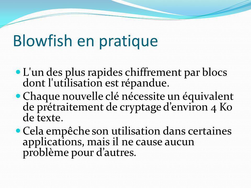 Blowfish en pratique L un des plus rapides chiffrement par blocs dont l utilisation est répandue.