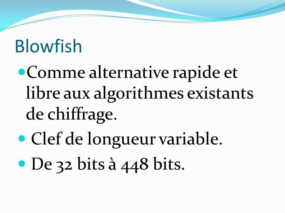 Blowfish Comme alternative rapide et libre aux algorithmes existants de chiffrage. Clef de longueur variable.