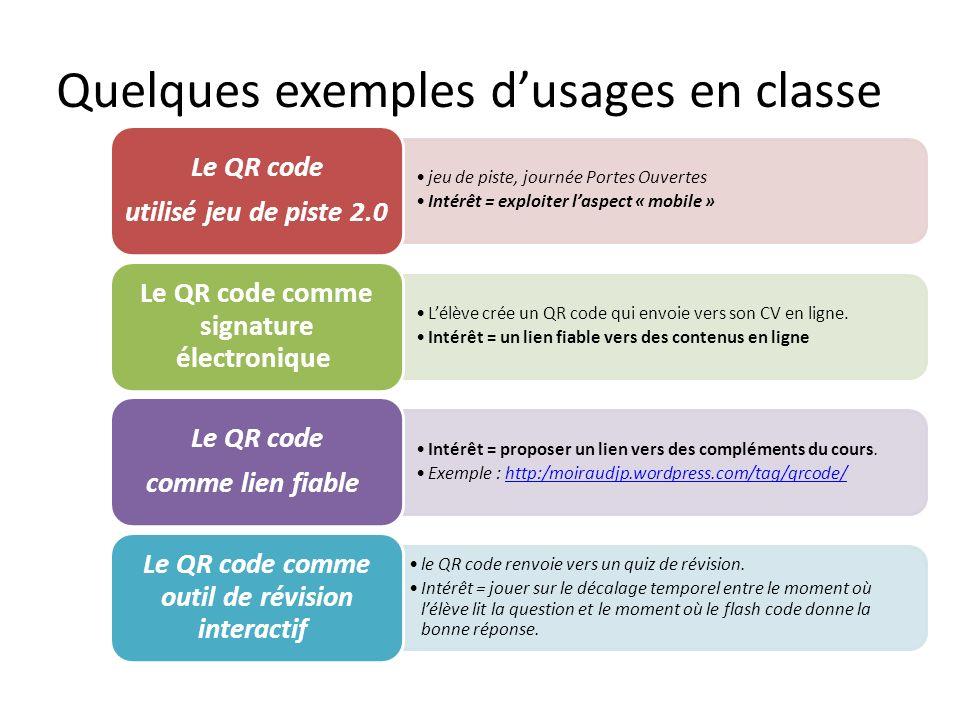 Quelques exemples d'usages en classe