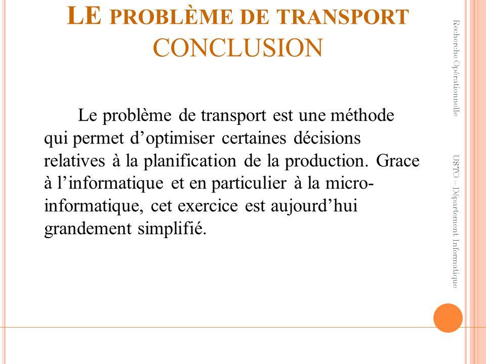 LE problème de transport CONCLUSION