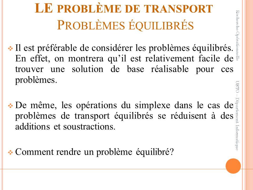 LE problème de transport Problèmes équilibrés