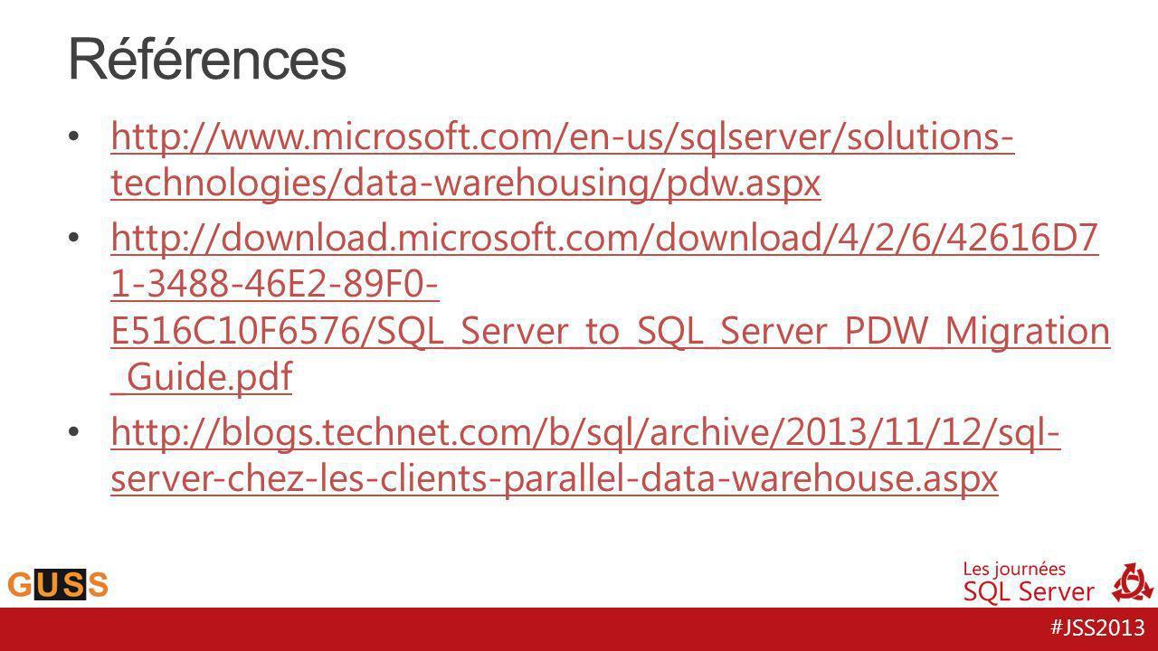Références http://www.microsoft.com/en-us/sqlserver/solutions-technologies/data-warehousing/pdw.aspx.