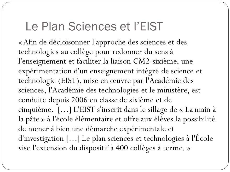 Le Plan Sciences et l'EIST
