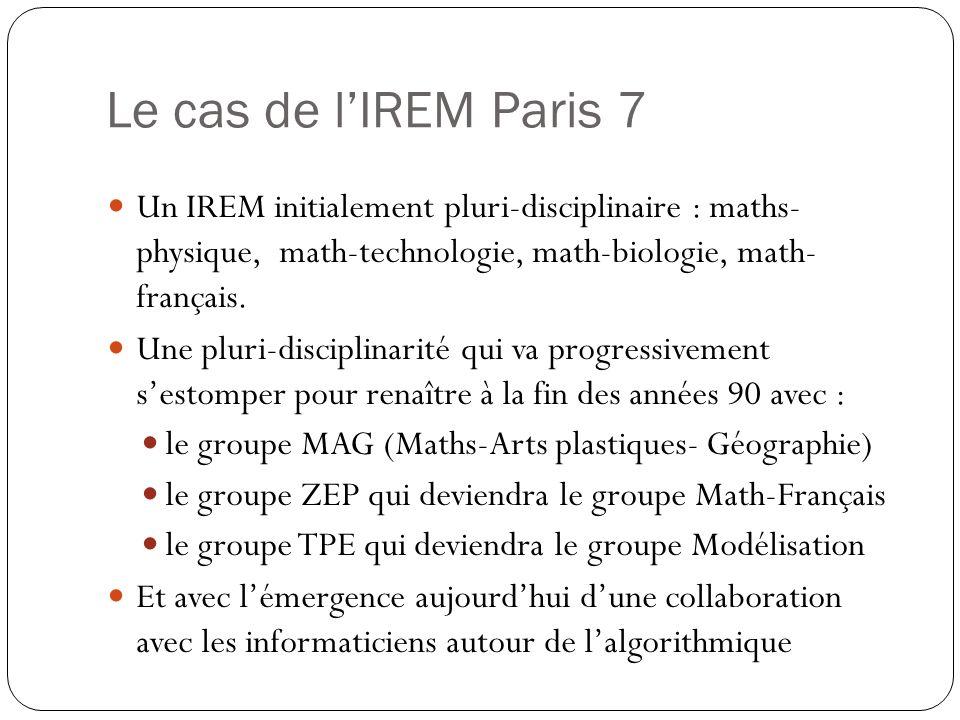 Le cas de l'IREM Paris 7 Un IREM initialement pluri-disciplinaire : maths- physique, math-technologie, math-biologie, math- français.