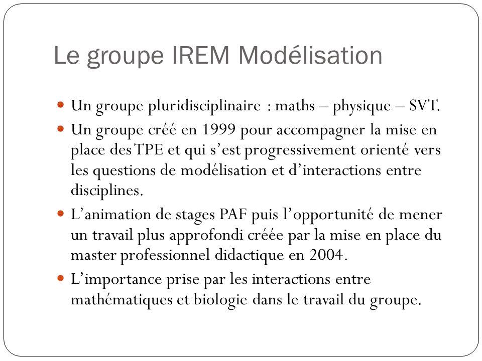 Le groupe IREM Modélisation