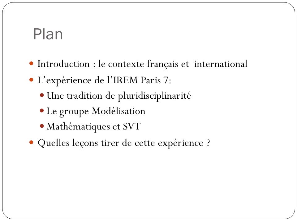 Plan Introduction : le contexte français et international