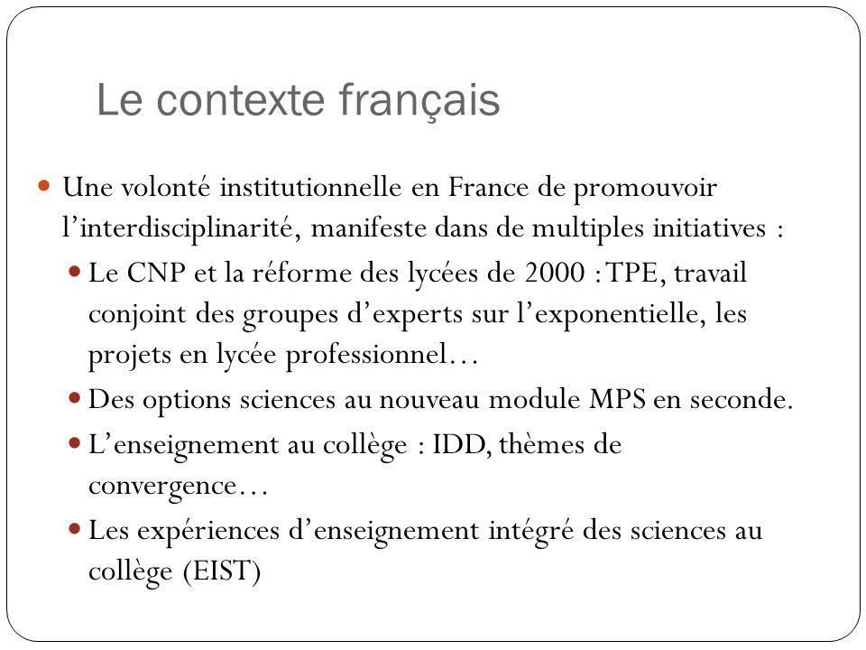 Le contexte français Une volonté institutionnelle en France de promouvoir l'interdisciplinarité, manifeste dans de multiples initiatives :