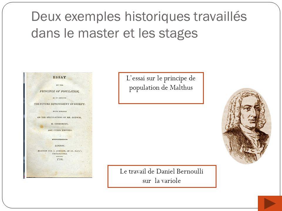 Deux exemples historiques travaillés dans le master et les stages