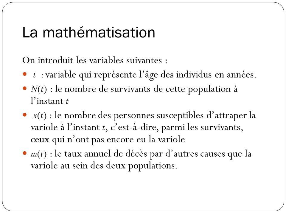 La mathématisation On introduit les variables suivantes :