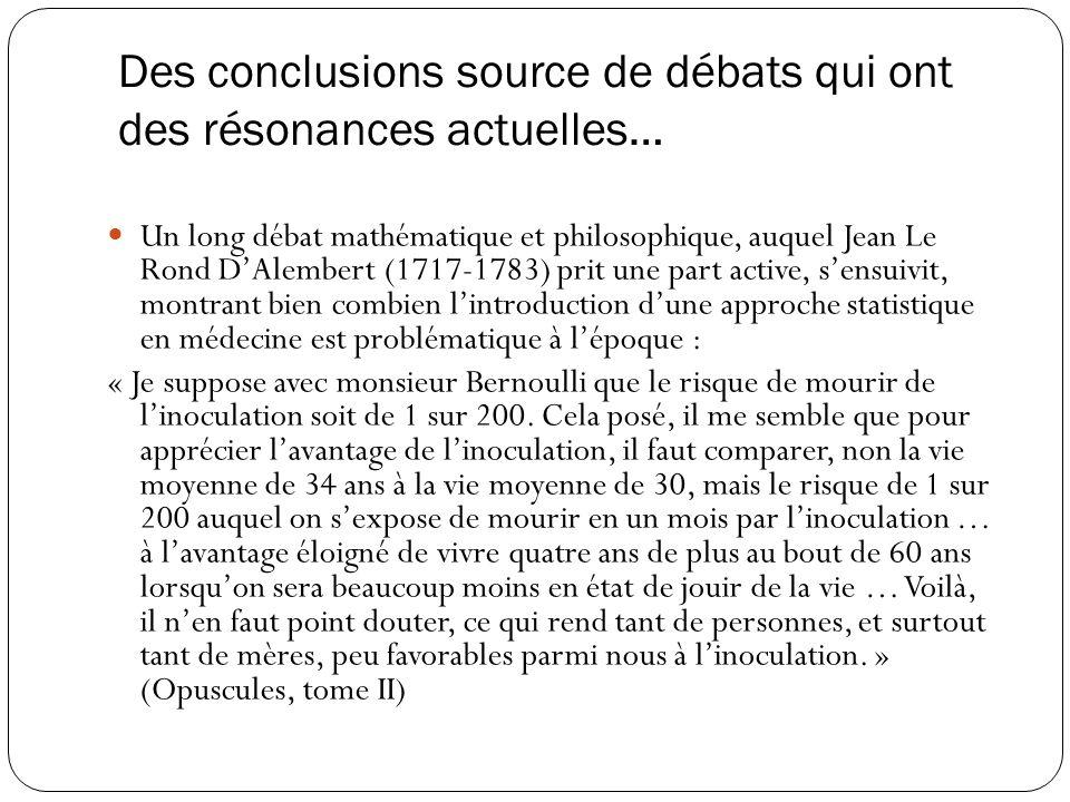 Des conclusions source de débats qui ont des résonances actuelles…