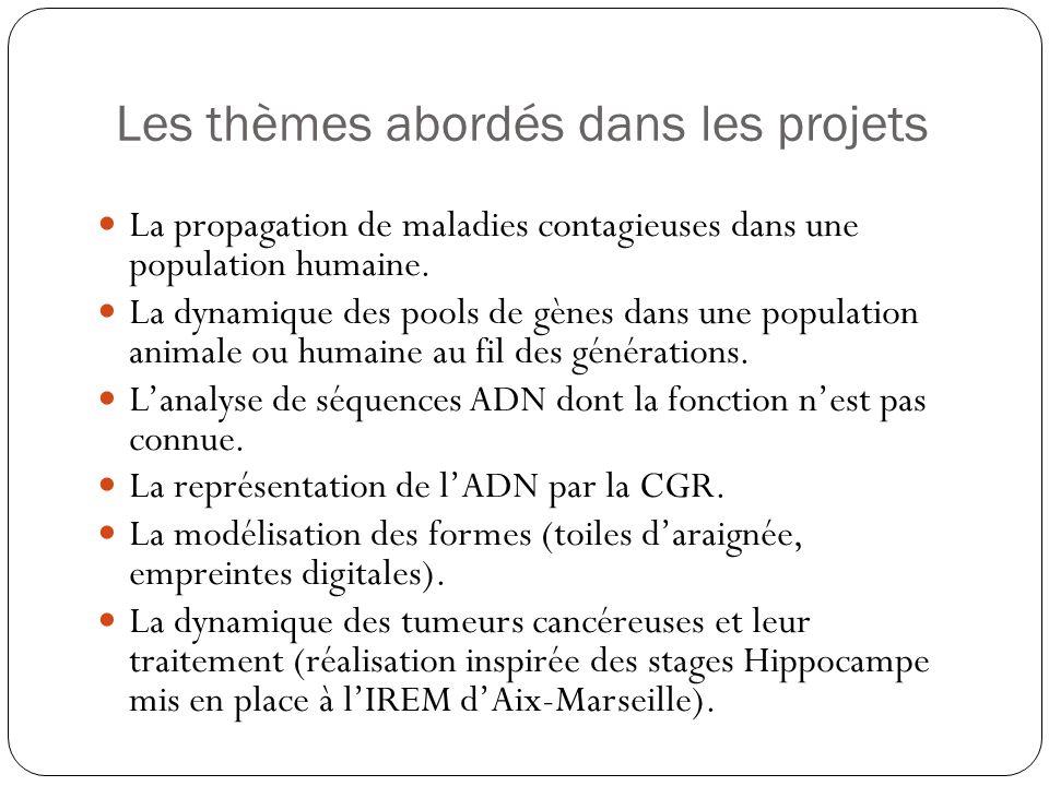 Les thèmes abordés dans les projets