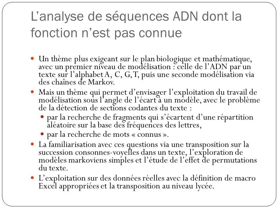 L'analyse de séquences ADN dont la fonction n'est pas connue