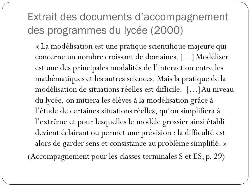 Extrait des documents d'accompagnement des programmes du lycée (2000)
