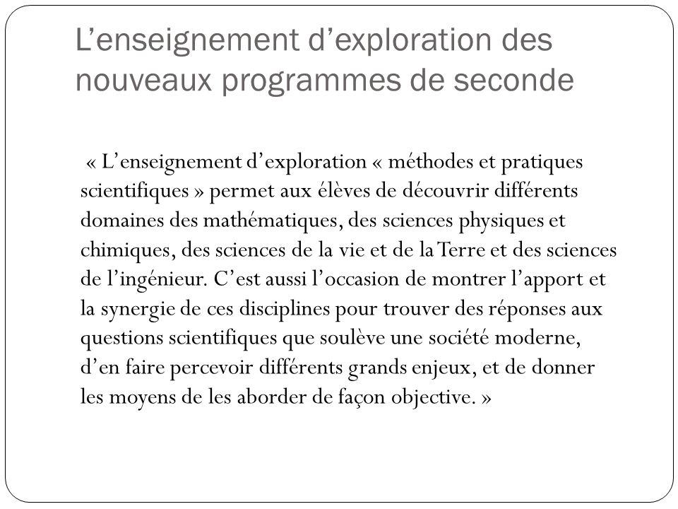 L'enseignement d'exploration des nouveaux programmes de seconde