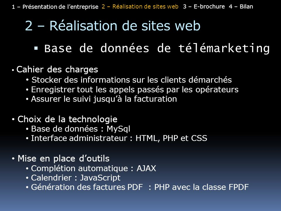 2 – Réalisation de sites web