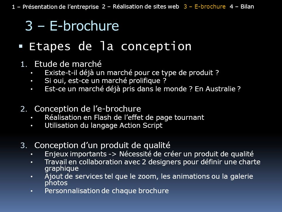 3 – E-brochure Etapes de la conception Etude de marché