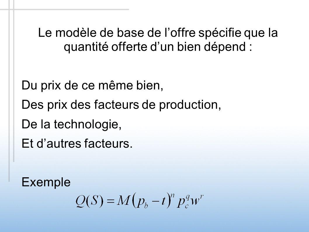 Le modèle de base de l'offre spécifie que la quantité offerte d'un bien dépend :