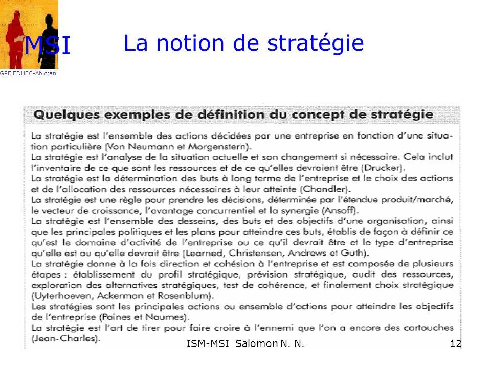 MSI GPE EDHEC-Abidjan La notion de stratégie ISM-MSI Salomon N. N.