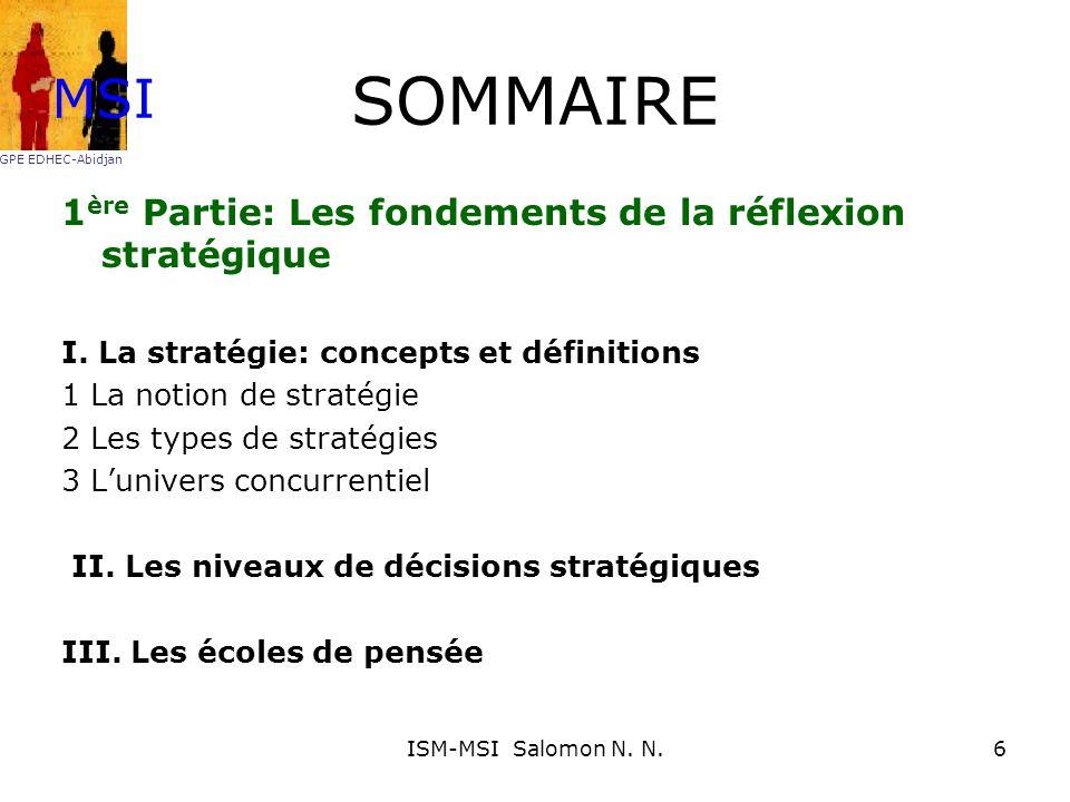 SOMMAIRE MSI 1ère Partie: Les fondements de la réflexion stratégique
