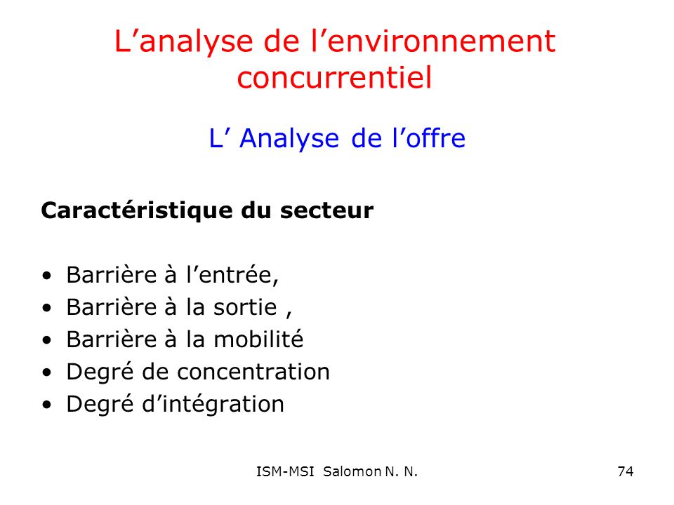 L'analyse de l'environnement concurrentiel