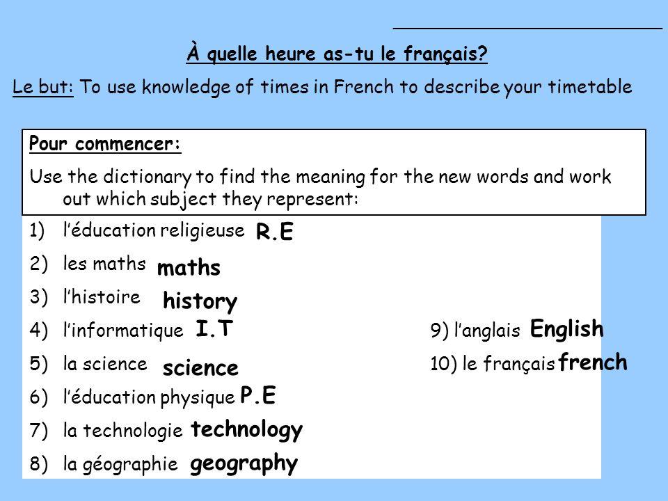 À quelle heure as-tu le français