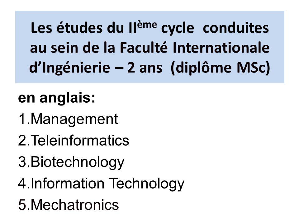 Les études du IIème cycle conduites au sein de la Faculté Internationale d'Ingénierie – 2 ans (diplôme MSc)