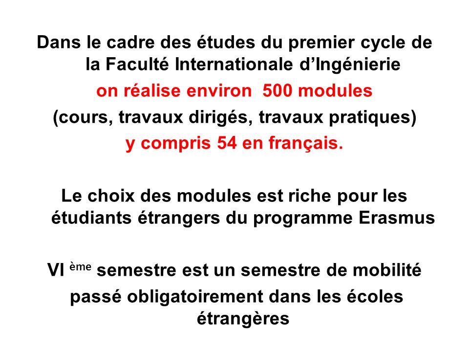 Dans le cadre des études du premier cycle de la Faculté Internationale d'Ingénierie
