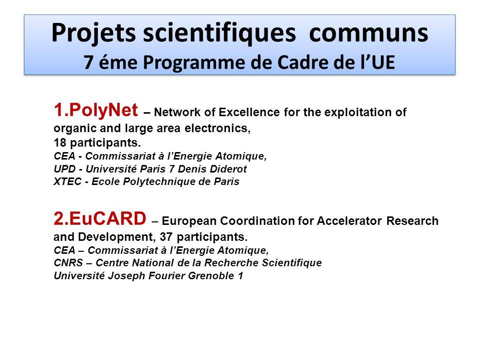 Projets scientifiques communs 7 éme Programme de Cadre de l'UE