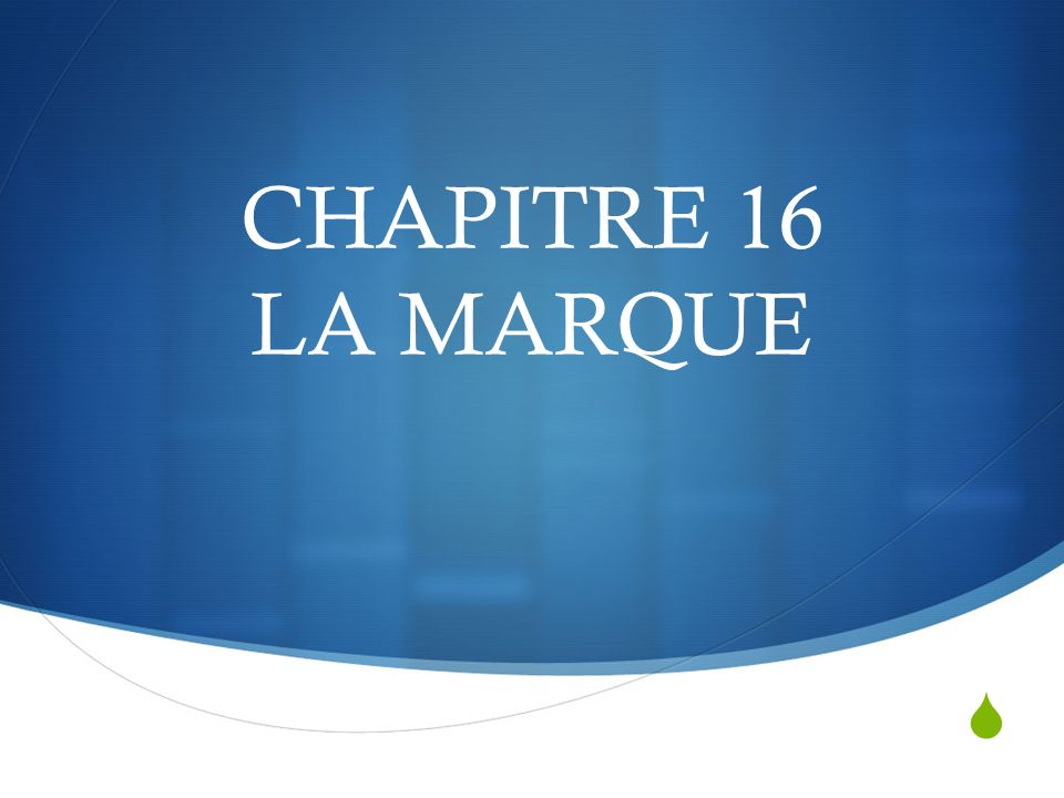 CHAPITRE 16 LA MARQUE