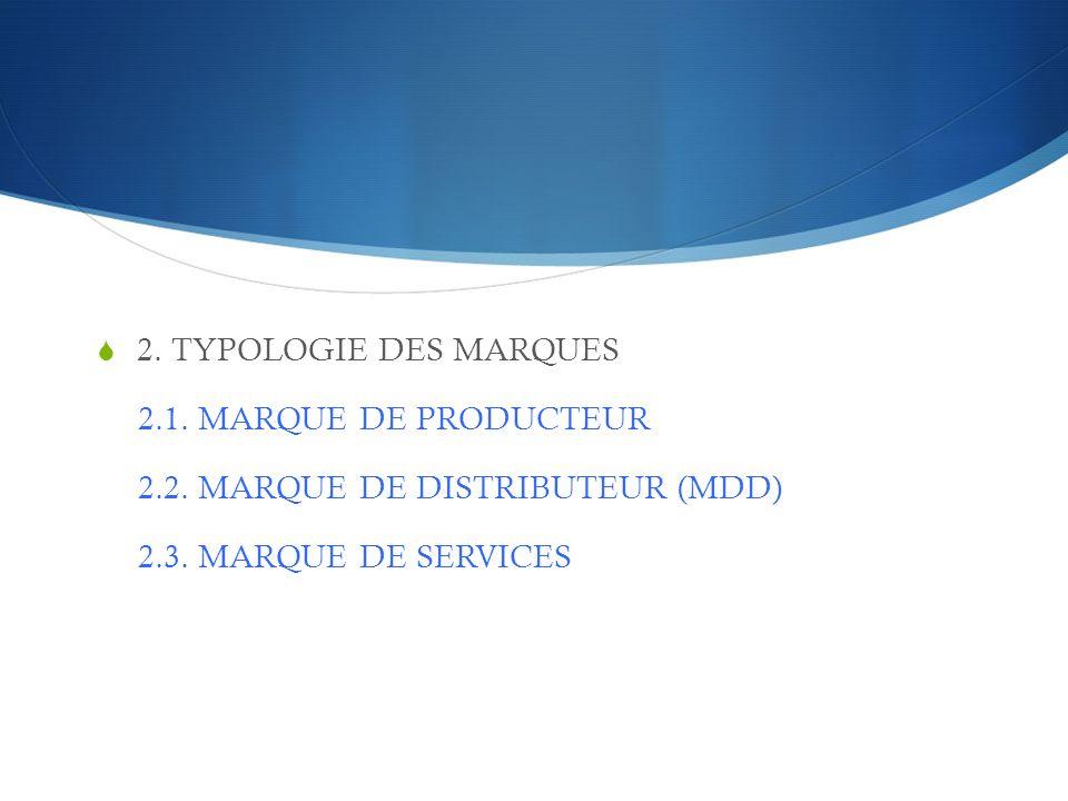 2. TYPOLOGIE DES MARQUES 2.1. MARQUE DE PRODUCTEUR.