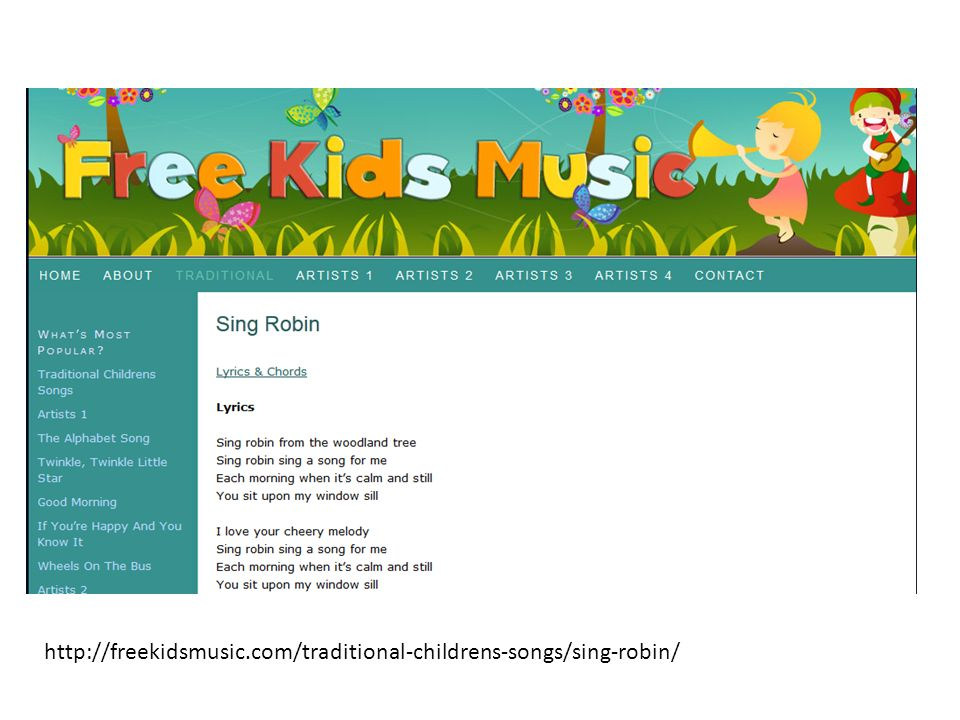 http://freekidsmusic.com/traditional-childrens-songs/sing-robin/