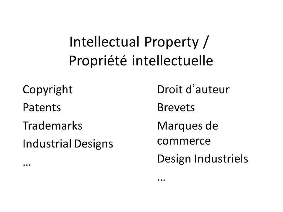 Intellectual Property / Propriété intellectuelle